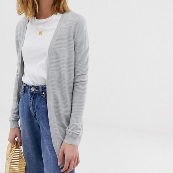 Light grey striped oversized open front cardigan